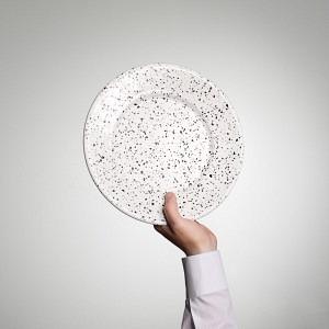 Emaille Teller, flach, Ø 26 cm weiss