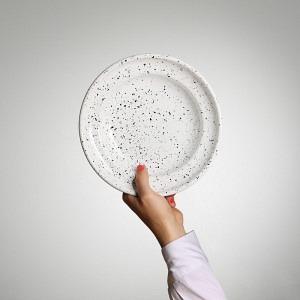 Emaille Teller, tief, Ø 22 cm, Weiss- Schwarzer Sprenkel