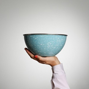 Schüssel, Ø 22 cm, 2,5 l, Glatsch Blu - weiss gesprenkelt