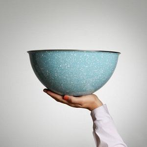 Schüssel, Ø 30 cm, 5 l, Glatsch Blu - weiss gesprenkelt