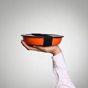 Unterwegs zu Hause Teller Wasserglace-Orange, Deckel Schwarz, Band Schwarz inkl. Dichtung