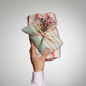 GOTS Bio Baumwolle Decke, Streifen