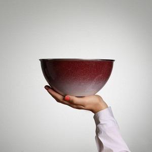 Schüssel, Ø 22 cm, 2,5 l, Randen Bordeaux - Bodenverlauf aussen, weiss