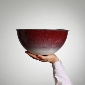 Schüssel, Ø 30 cm, 5 l, Randen Bordeaux - Bodenverlauf aussen, weiss