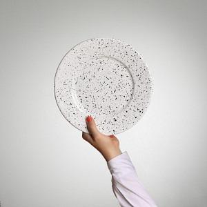 Emaille Teller, flach, Ø 21 cm weiss