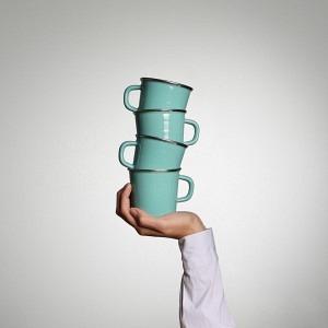 Quartett Kaffeetassen  Bergsee