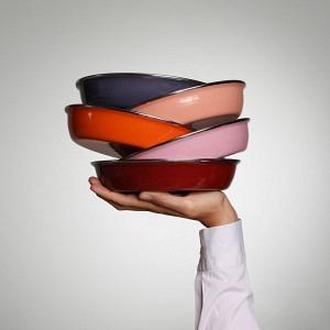 Quintett Teller Bordeaux, Rosa, Orange, Lachs, Vitolette