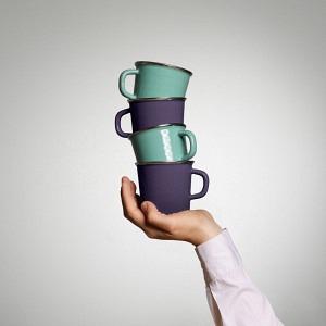 Quartett Kaffeetassen  Bergsee & Vitelotte Violette