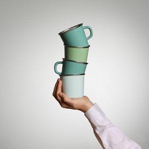 Quartett Kaffeetassen (Bergsee) und Becher (Kristall &  Grün)