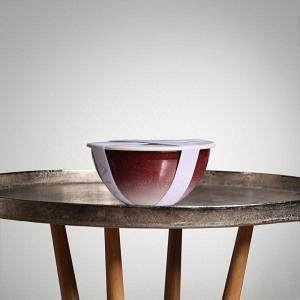 Schüssel-Set UNO, Ø 22 cm, 2,5 l, Randen Bordeaux- Boden Verlauf weiss, inkl. Deckel, Dichtung und Band